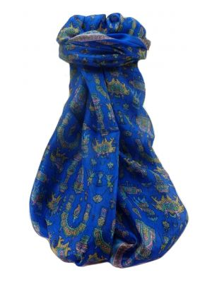 Mulberry Silk Traditional Long Scarf  Vimi Blue by Pashmina & Silk