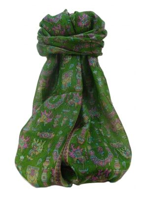 Mulberry Silk Traditional Long Scarf  Vimi Sage by Pashmina & Silk
