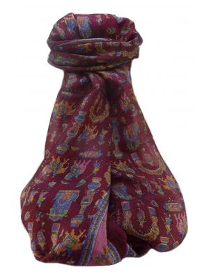 Mulberry Silk Traditional Long Scarf  Vimi Maroon by Pashmina & Silk