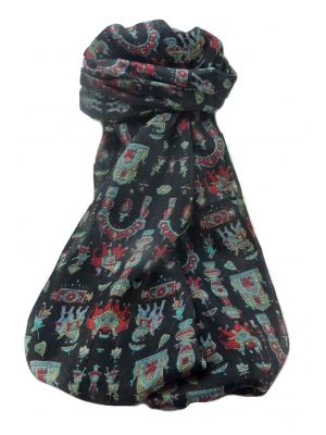Mulberry Silk Traditional Long Scarf  Vimi Black by Pashmina & Silk