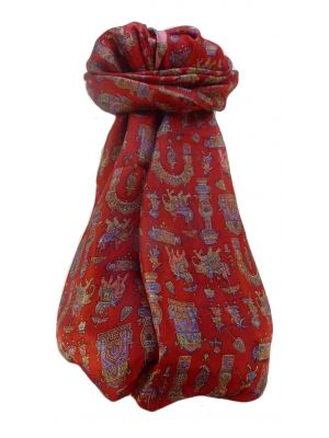 Mulberry Silk Traditional Long Scarf  Vimi Scarlet by Pashmina & Silk