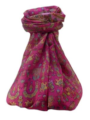 Mulberry Silk Traditional Long Scarf  Vimi Pink by Pashmina & Silk