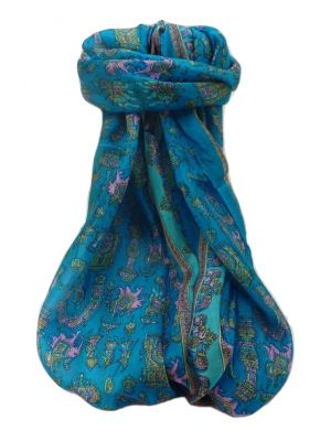 Mulberry Silk Traditional Long Scarf  Vimi Aqua by Pashmina & Silk
