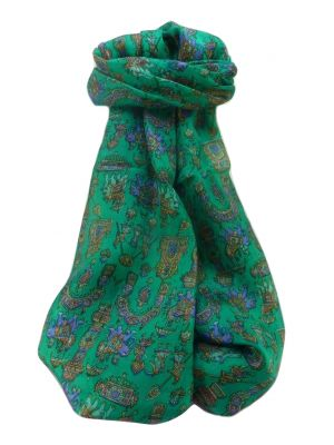 Mulberry Silk Traditional Long Scarf  Vimi Emerald by Pashmina & Silk