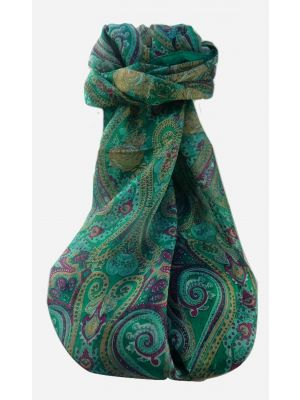 Mulberry Silk Traditional Long Scarf  Yaar Emerald by Pashmina & Silk