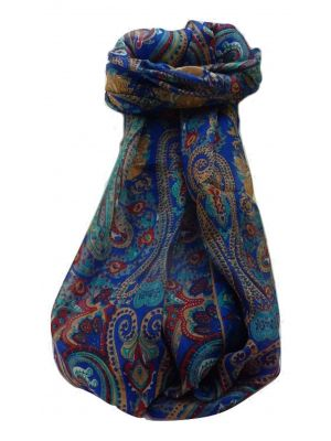 Mulberry Silk Traditional Long Scarf  Yaar Blue by Pashmina & Silk