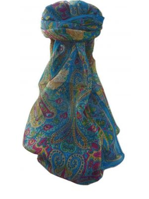 Mulberry Silk Traditional Long Scarf  Yaar Aqua by Pashmina & Silk
