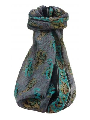 Mulberry Silk Traditional Long Scarf  Yahan Black by Pashmina & Silk
