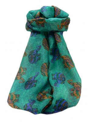 Mulberry Silk Traditional Long Scarf  Yahan Emerald by Pashmina & Silk