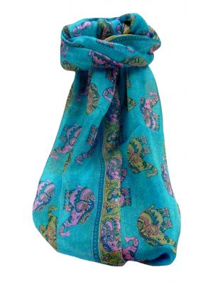 Mulberry Silk Traditional Long Scarf  Yahan Aqua by Pashmina & Silk