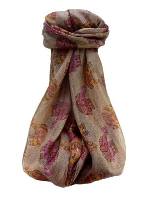 Mulberry Silk Traditional Long Scarf  Yahan Chestnut by Pashmina & Silk