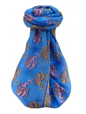 Mulberry Silk Traditional Long Scarf  Yahan Blue by Pashmina & Silk