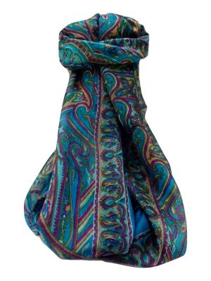 Mulberry Silk Traditional Long Scarf  Yami Aqua by Pashmina & Silk