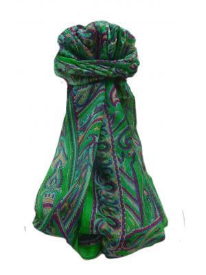 Mulberry Silk Traditional Long Scarf  Yami Green by Pashmina & Silk