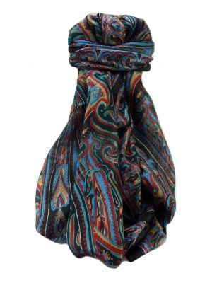 Mulberry Silk Traditional Long Scarf  Yami Black by Pashmina & Silk