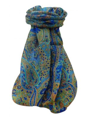 Mulberry Silk Traditional Long Scarf  Zareen Blue by Pashmina & Silk