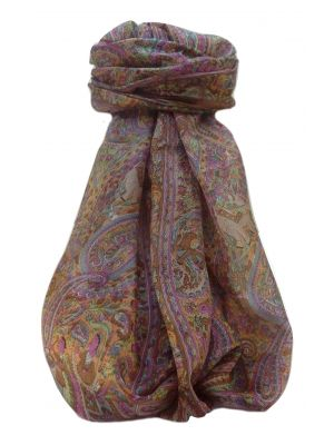 Mulberry Silk Traditional Long Scarf  Zareen Chestnut by Pashmina & Silk