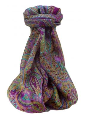 Mulberry Silk Traditional Long Scarf  Zareen Rose by Pashmina & Silk