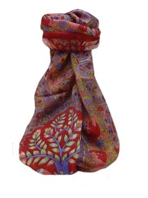 Mulberry Silk Traditional Long Scarf  Zhu Scarlet by Pashmina & Silk