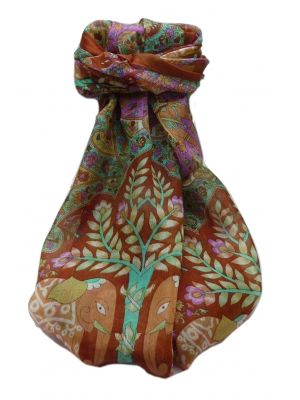 Mulberry Silk Traditional Long Scarf  Zhu Copper by Pashmina & Silk
