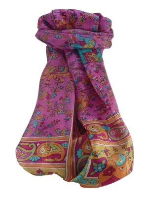 Mulberry Silk Traditional Long Scarf  Zinta Pink by Pashmina & Silk