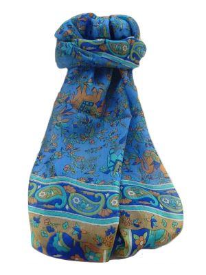 Mulberry Silk Traditional Long Scarf  Zinta Blue by Pashmina & Silk
