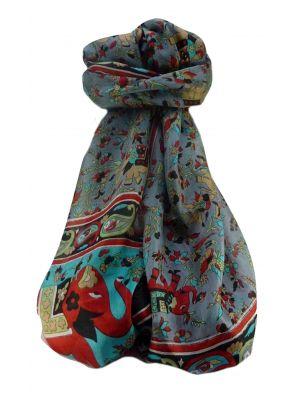 Mulberry Silk Traditional Long Scarf  Zinta Black by Pashmina & Silk