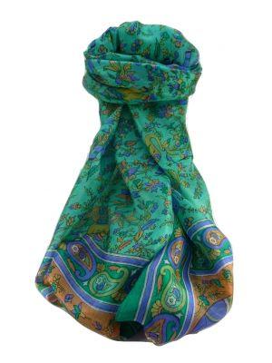 Mulberry Silk Traditional Long Scarf  Zinta Emerald by Pashmina & Silk