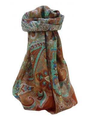 Mulberry Silk Traditional Square Scarf Zoya Copper by Pashmina & Silk
