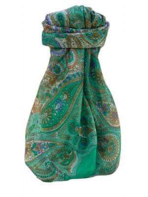 Mulberry Silk Traditional Square Scarf Zoya Emerald by Pashmina & Silk
