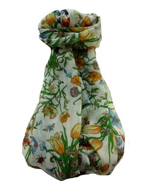 Mulberry Silk Contemporary Long Scarf Floral F244 by Pashmina & Silk