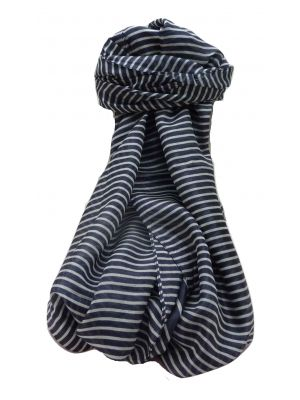 Mulberry Silk Contemporary Long Scarf Veena Black by Pashmina & Silk